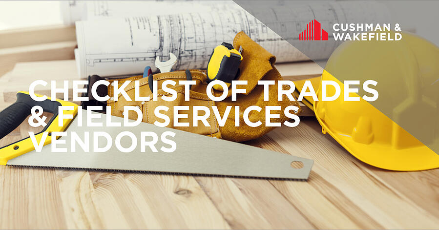 Checklist of Trades and Field Services Vendors